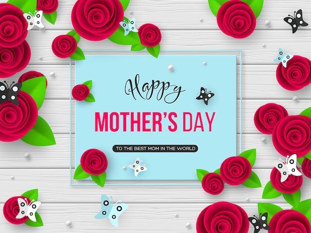 Tarjeta de felicitación del día de las madres felices. flores de corte de papel 3d con mariposa y marco
