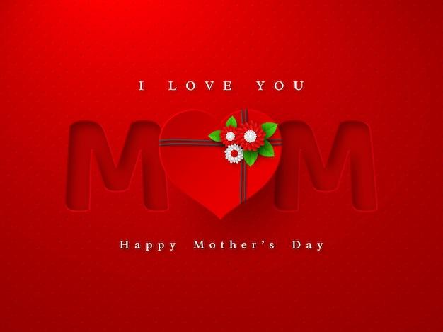 Tarjeta de felicitación del día de las madres felices. palabra mamá en estilo artesanal de papel con flores decoradas con corazón 3d