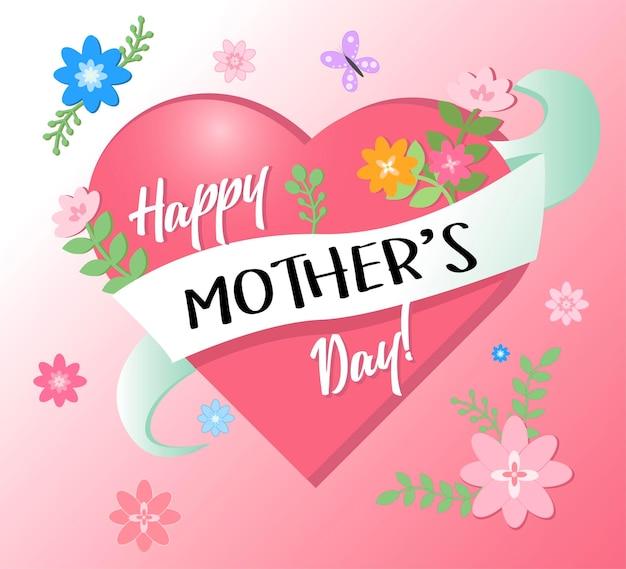Tarjeta de felicitación del día de las madres con fondo de flores de corazón