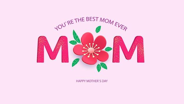 Tarjeta de felicitación del día de las madres con hermosas flores en flor. feliz día de la madre.