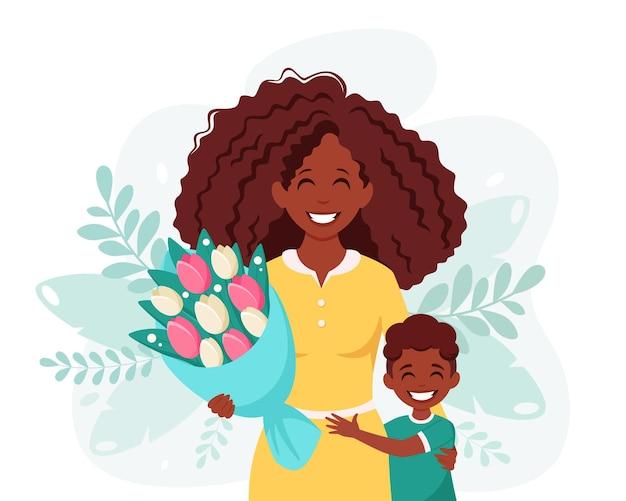 Tarjeta de felicitación del día de las madres mujer negra con ramo de flores e hijo
