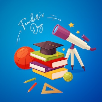 Tarjeta de felicitación del día del maestro con telescopio, libros, gorra, lápices, regla, bolas y estrellas.