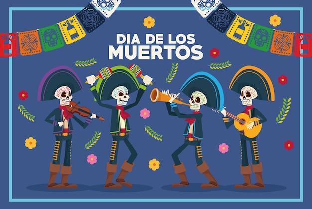 Tarjeta de felicitación de dia de los muertos con esqueletos mariachis y guirnaldas