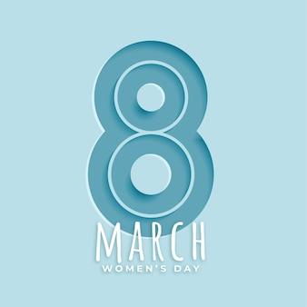Tarjeta de felicitación del día de la mujer estilo papel