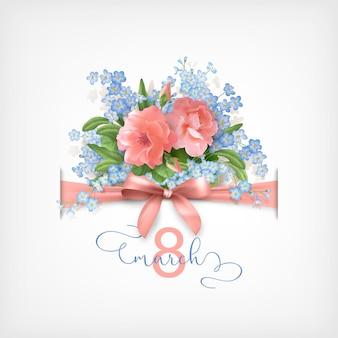 Tarjeta de felicitación del día de la mujer feliz el 8 de marzo