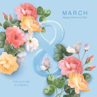 Tarjeta de felicitación del día de la mujer feliz en marzo