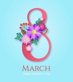 Tarjeta de felicitación del día de la mujer con ramo de flores florecientes de papercut