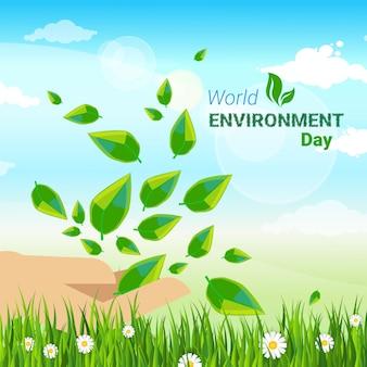 Tarjeta de felicitación del día mundial del medio ambiente protección ecológica vacaciones