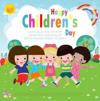Tarjeta de felicitación del día de los niños felices con un grupo de amigos diversos de niños saltando y abrazándose juntos para la celebración de eventos especiales