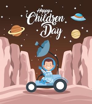 Tarjeta de felicitación del día de los niños felices con niño en el espacio