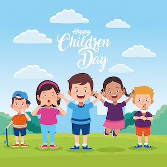 Tarjeta de felicitación del día de los niños felices con niños en el campo