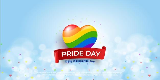 Tarjeta de felicitación del día del orgullo feliz con corazones de colores