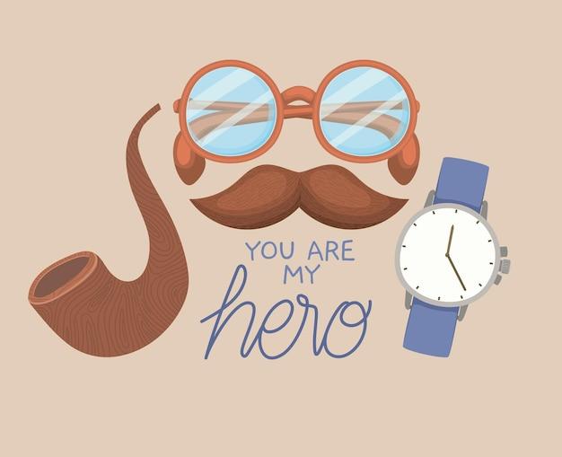 Tarjeta de felicitación del día del padre con anteojos, reloj, bigote y pipa.
