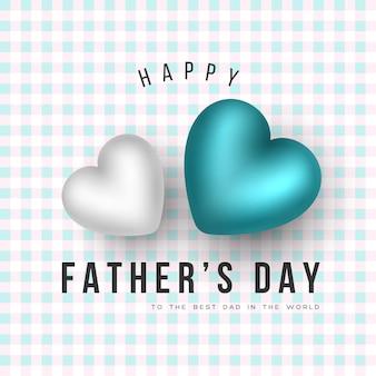 Tarjeta de felicitación del día del padre. corazones 3d y fondo de patrón a cuadros. ilustracion vectorial