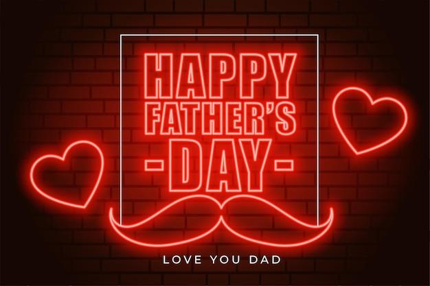 Tarjeta de felicitación del día del padre de estilo neón con corazones de amor