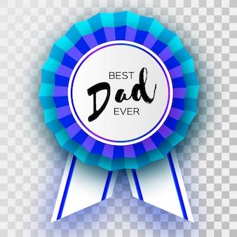 Tarjeta de felicitación del día de padre feliz azul. premio best dad ever badge en estilo de corte de papel.