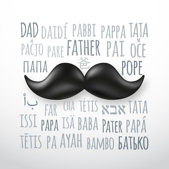 Tarjeta de felicitación del día del padre feliz con bigote retro.