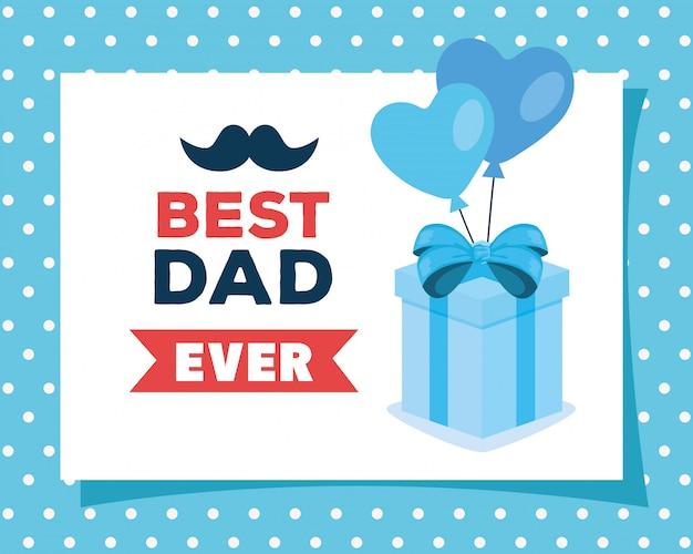 Tarjeta de felicitación del día del padre feliz con caja de regalo y decoración
