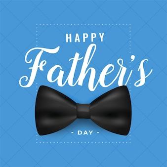 Tarjeta de felicitación del día del padre feliz con lazo realista