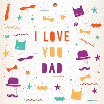 Tarjeta de felicitación del día del padre. ilustración brillante para tarjetas de diseño, invitaciones, camisetas, álbumes, álbumes de recortes, carteles, pancartas, etc.