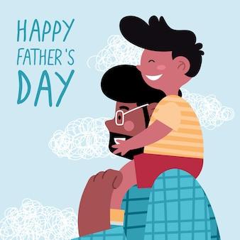 Tarjeta de felicitación del día del padre con papá e hijo