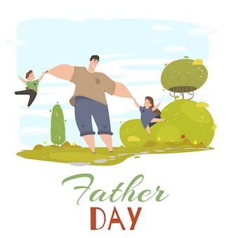 Tarjeta de felicitación del día del padre. papá, hija e hijo
