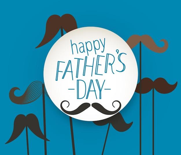 Tarjeta de felicitación del día de padres feliz con bigote.