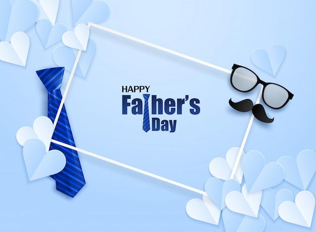 Tarjeta de felicitación del día de padres feliz. diseño con corazón, corbata y gafas sobre fondo azul.