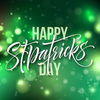 Tarjeta de felicitación del día de san patricio letras sobre fondo verde bokeh. ilustración