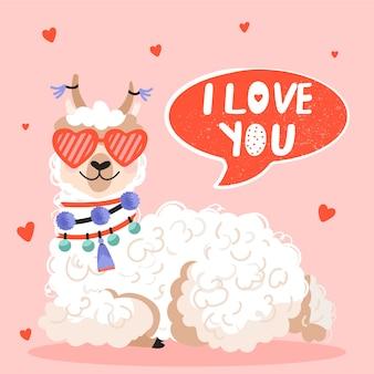 Tarjeta de felicitación del día de san valentín. alpaca con gafas de sol en forma de corazón.