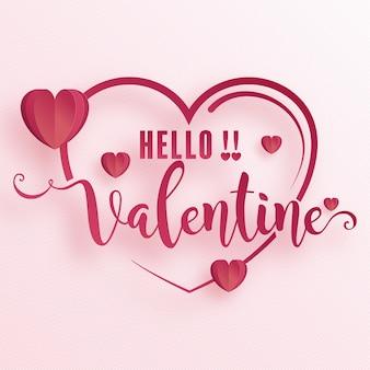 Tarjeta de felicitación del día de san valentín con amor de corazón y arte de corte de papel rosa y estilo artesanal en papel para el día de san valentín feliz