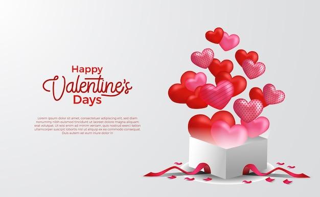 Tarjeta de felicitación del día de san valentín con caja 3d con pop-up 3d globos en forma de corazón sorpresa ilustración