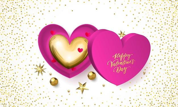 Tarjeta de felicitación del día de san valentín de decoración de caja de regalo de corazón con dulces de chocolate en envoltura dorada.