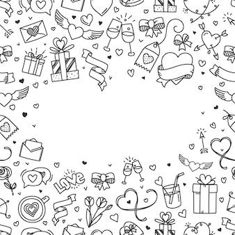 Tarjeta de felicitación del día de san valentín con espacio de copia. ilustración de estilo de garabatos
