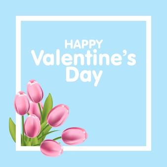 Tarjeta de felicitación del día de san valentín con flores de tulipanes y marco