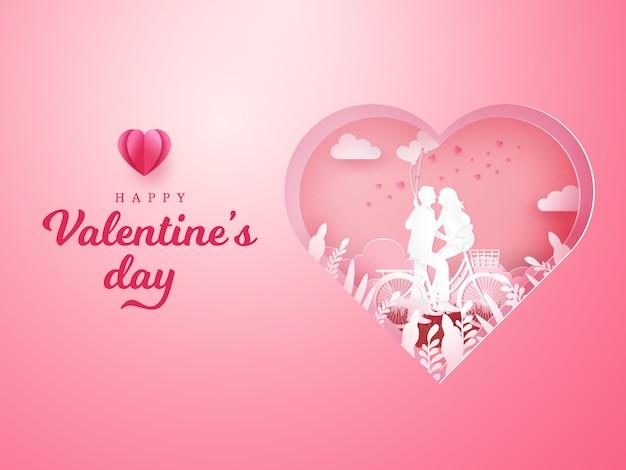 Tarjeta de felicitación del día de san valentín. pareja sentada en una bicicleta y mirándose con una mano sosteniendo globos en forma de corazón en corazón tallado