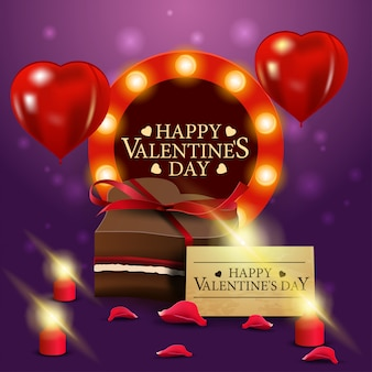 Tarjeta de felicitación del día de san valentín púrpura con caramelo de chocolate