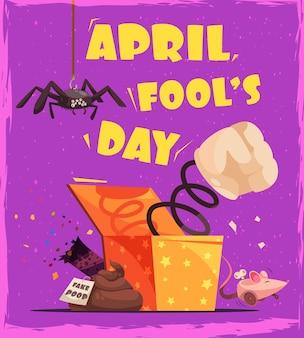Tarjeta de felicitación del día de todos los tontos con texto editable e imágenes de la caja de patadas de mierda y la araña