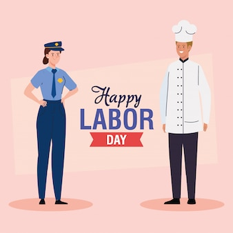 Tarjeta de felicitación del día del trabajo, con mujer y hombre de diferentes profesiones, diseño de ilustración vectorial de policía y chef