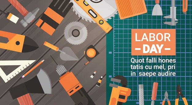 Tarjeta de felicitación del día del trabajo sobre herramientas de trabajo de reparación y construcción