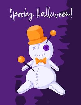 Tarjeta de felicitación de dibujos animados de halloween con espeluznante muñeco vudú con sombrero naranja
