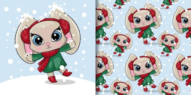 Tarjeta de felicitación de dibujos animados lindo conejo con nieve, patrones sin fisuras