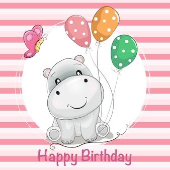 Tarjeta de felicitación de dibujos animados lindo hipopótamo con globos y mariposa