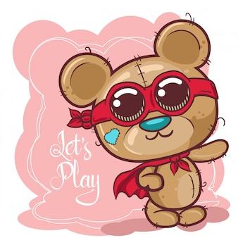 Tarjeta de felicitación de dibujos animados lindo oso - vector
