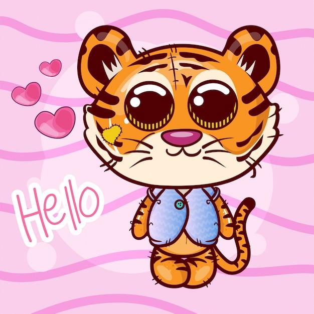 Tarjeta de felicitación de dibujos animados lindo tigre niña - vector
