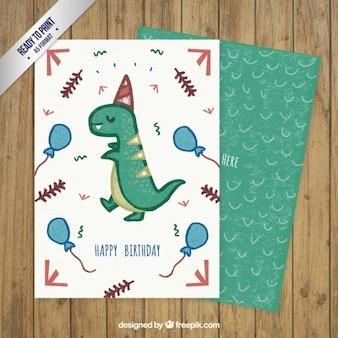 Tarjeta de felicitación de dinosaurio dibujada a mano