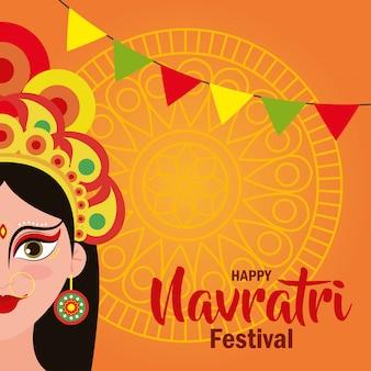Tarjeta de felicitación de la diosa durga con guirnaldas colgando de feliz celebración de navratri, diseño de ilustraciones vectoriales