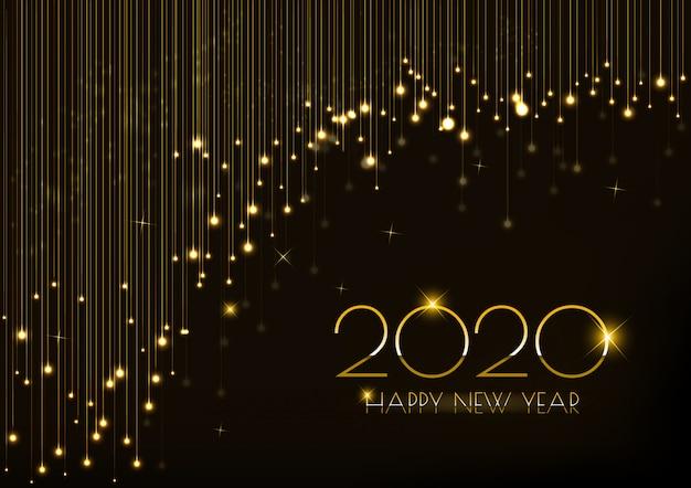 Tarjeta de felicitación para el diseño del año nuevo 2020 con cortina de luces brillantes