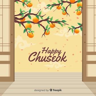 Tarjeta de felicitación de diseño plano chuseok