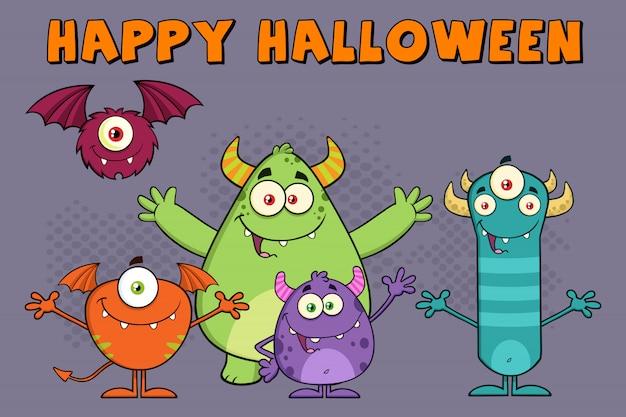 Tarjeta de felicitación divertida de la ilustración de los personajes de dibujos animados de los monstruos
